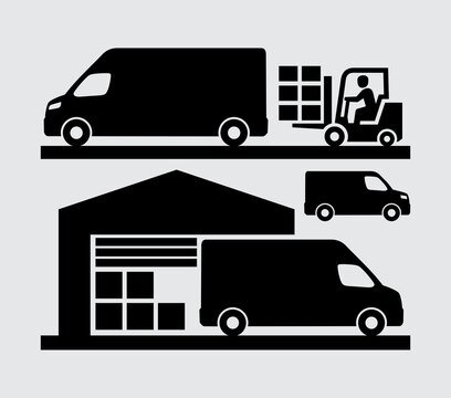 Cargo Delivery Commercial Van Loading in Warehouse Dock Vector Icon