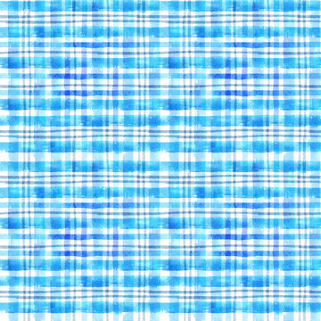seamless watercolor blue plaid pattern