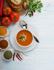 Tasty tomato soup made of fresh tomatoes