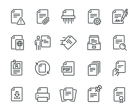 Document icons set. Collection of simple linear web icons such as Archive, Shredder, Printer, Send, Print, Format, Search, Customize, Download, Sign Document and others. Editable vector stroke.