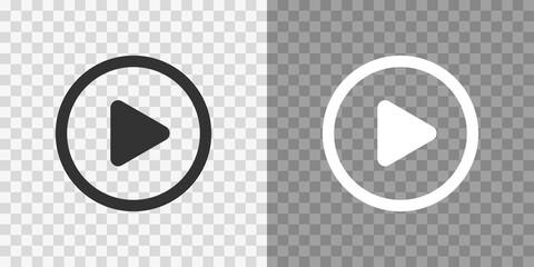 Fototapeta Play button icons on transparent backdrop. Digita webl vector