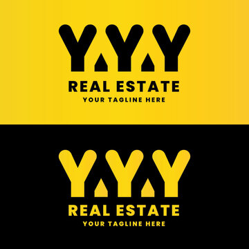 triple the letter Y real estate logo design, has a philosophy of building reinforcing pillars will cover the hole