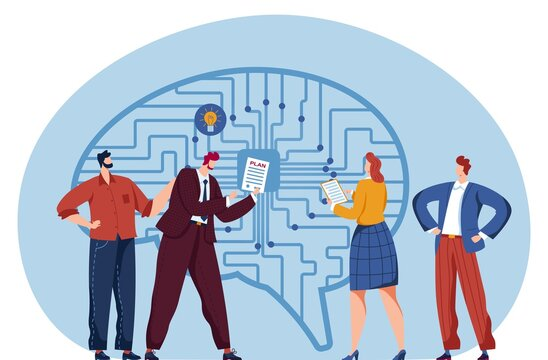 Business in high technology, computer systems vector concept illustration. Digital human brain, mind sign. Future electronic business structure technology creative symbol. Thinking education.