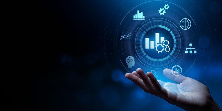 Business analytics big data analysis technology concept on VR screen.