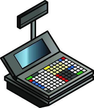 A basic point of sale cash register.