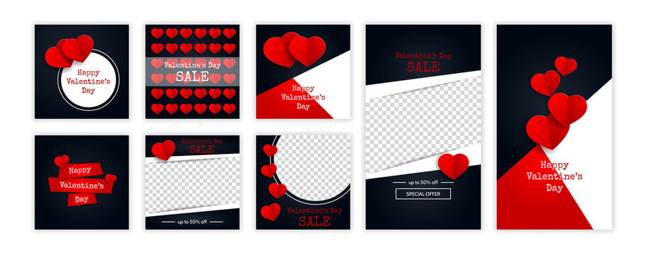 Valentine's day trendy template for social networks stories and posts. Web online shopping banner concept