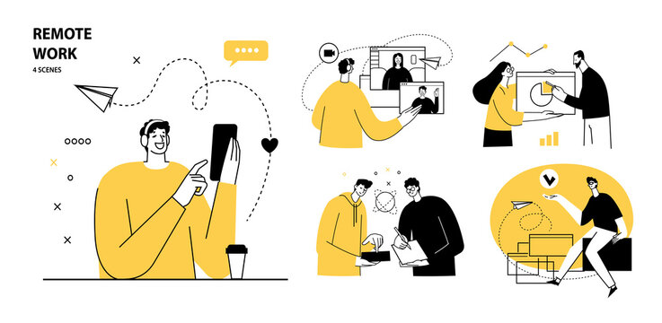 Remote Work concept illustrations. Collection of individual scenes at home office with men and women taking part in business activity. Outline vector illustration.