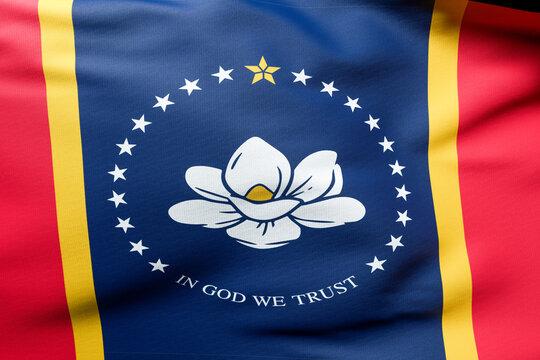 flag Mississippi State, square image Close up USA