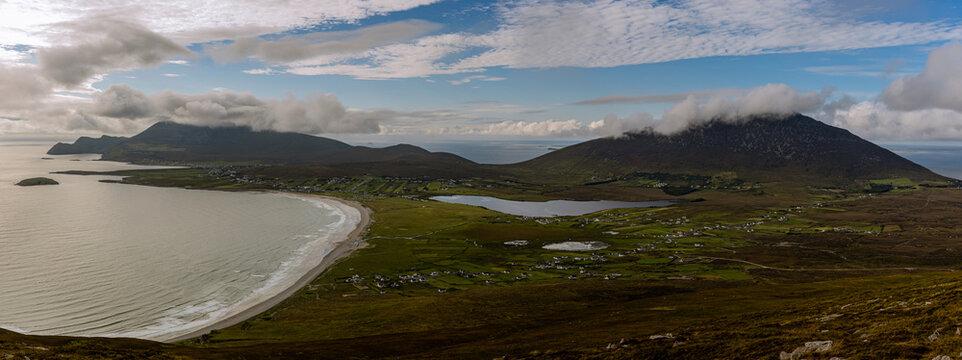 Achill Island and Keem beach from Minaun mountain, with Slivemore and Croaghaun, Achill, County Mayo, wild atlantic way, Ireland