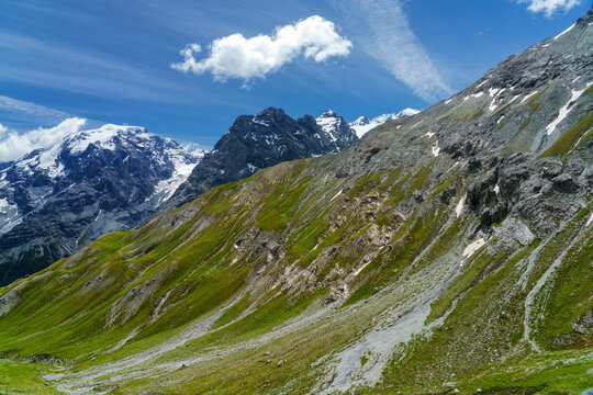Mountain landscape along the road to Stelvio pass at summer. Glacier