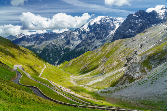 Mountain landscape along the road to Stelvio pass at summer