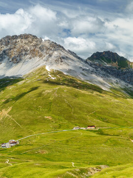 Mountain landscape along the road to Stelvio pass (Lombardy) at summer