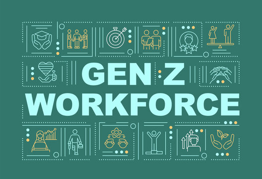 Gen z workforce concepts banner. Wellness and physical health in workplace. Infographics with linear icons on green background. Isolated typography. Vector outline RGB color illustration