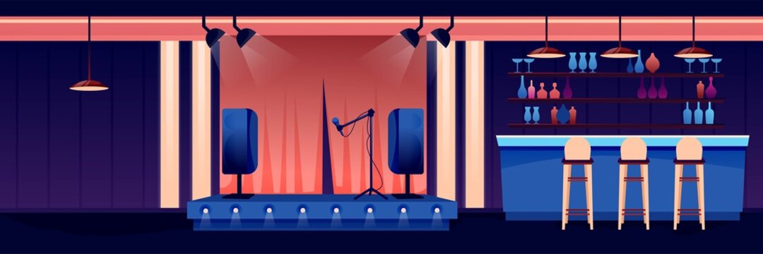 Night bar or pub background. Counter, stools, shelves with bottles, jars and glasses, stage with microphone in spotlight. Horizontal panorama vector illustration. Modern interior design