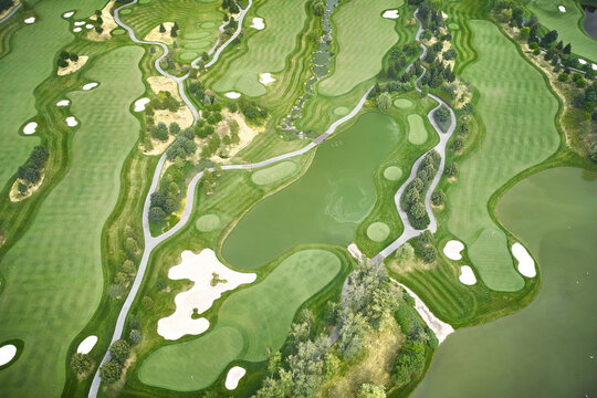 Golf course seen from the sky
