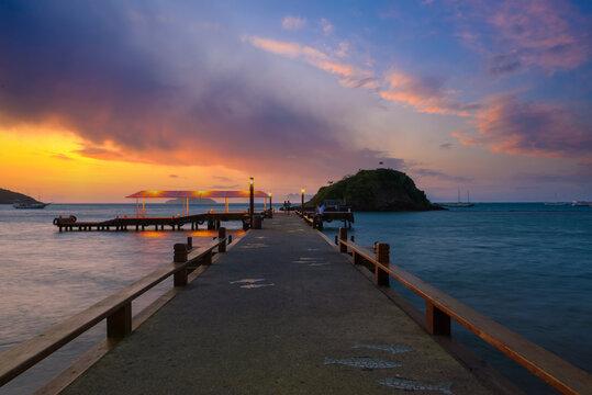 Sunset in Buzios, Rio de Janeiro, Brazil. Seascape of Buzios