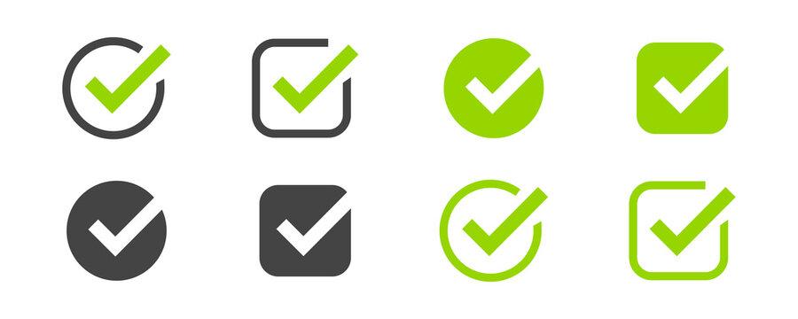 Checkmark icon set. Vector illustration. Tick or check mark symbol collection.