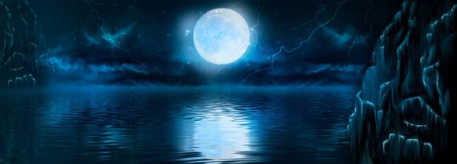 Fototapeta Abstract fantasy night landscape. Reflection in water, island, rocks. Futuristic shapes, neon light, lightning, thunderstorms. Dark clouds, dramatic landscape. obraz