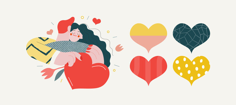 Embracing couple - Valentines day graphics. Modern flat vector concept illustration - a young hetoresexual couple hugging. Woman holds a big heart and flower. Cute characters in love concept