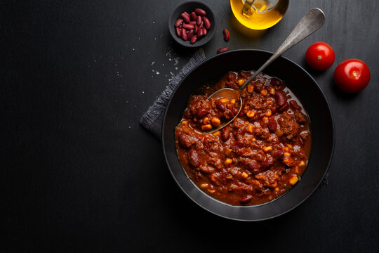 Classic chili con carne served on plate