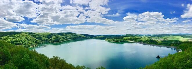 Fototapeta Panoramic View Of Lake Against Sky