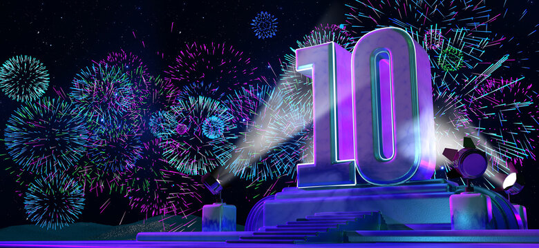 Number 10 in solid and thick form on a pedestal illuminated by 4 reflectors at night with fireworks of blue, magenta, cyan and purple color on starry night. 3d illustration