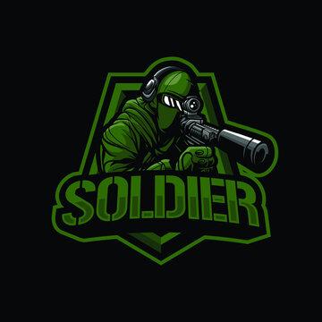Soldier mascot logo design illustration