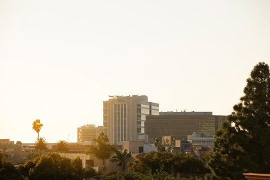 Sun shines on the historic downtown district of Santa Ana, California, USA.