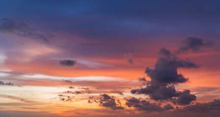 Evening sky with colorful sunset clouds and beautiful sunlight on twilight background,Dusk sky.