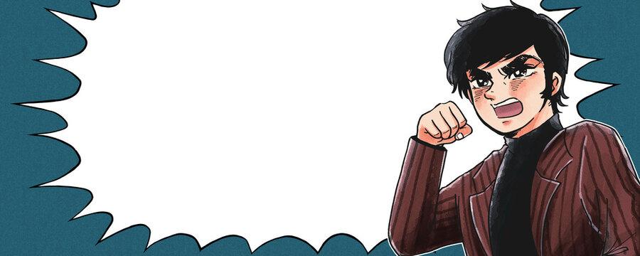 1970年代少年漫画風・全力で応援・ガッツポーズ・ふきだし