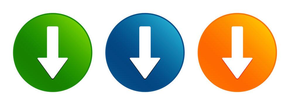 Down arrow icon liquid design round button set illustration
