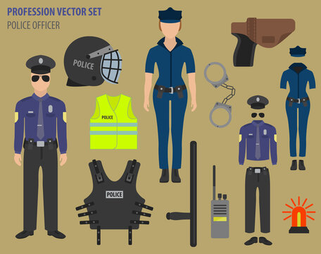 Profession and occupation set. Police officer equipment, uniform flat design icon