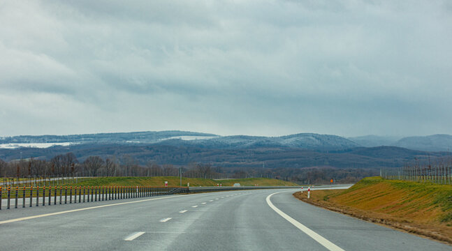 Highway to Sudetes mountains in Poland in december