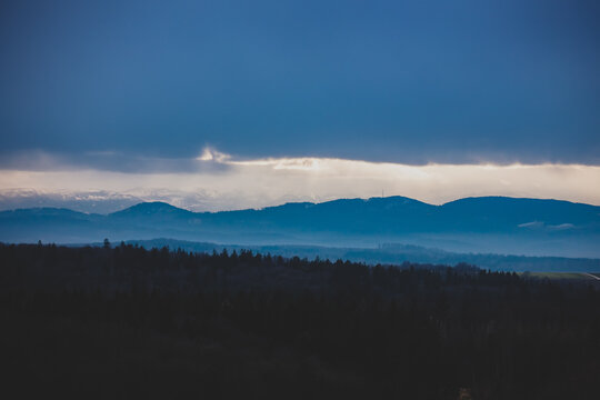 View on Sudetes mountains in sunset winter time