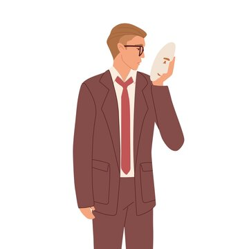 Man hiding real face expression behind social mask with fake positive emotion. Sad and depressed businessman disguising negative feelings. Color flat vector illustration isolated on white background