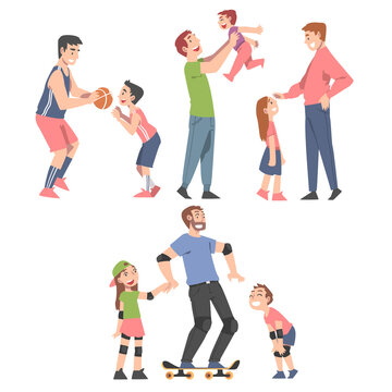 Happy Family Concept, Fathers Spending Time Together with Their Children Set Cartoon Style Vector Illustration