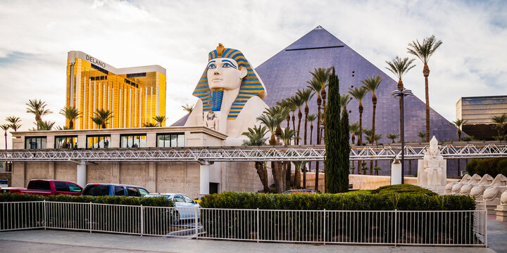 Sphinx and Pyramid of the Luxor Hotel and Mandalay Bay golden building on the Las Vegas Strip