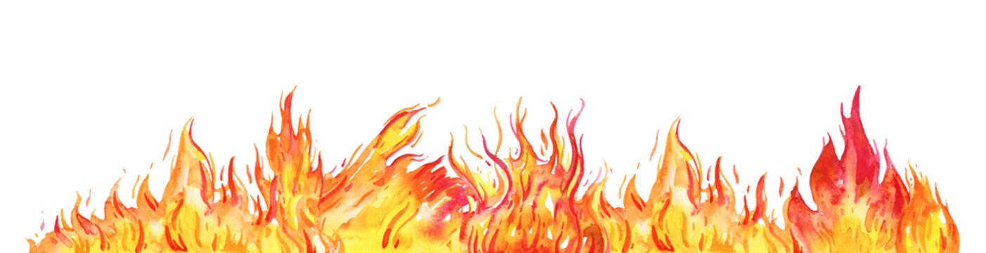 Hand drawn watercolor fire. Flame on the bottom of the page Isolated sketch illustration on white background