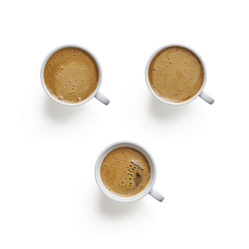 Isolated coffee cups on white background with top view