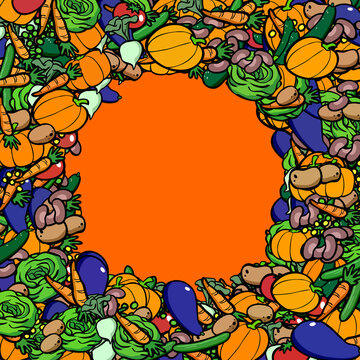 Veganer Clipart Gemüse Rahmen Hintergrund