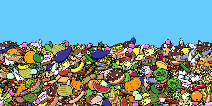 Lebensmittelverschwendung Konzept als nahtloser Hintergrund