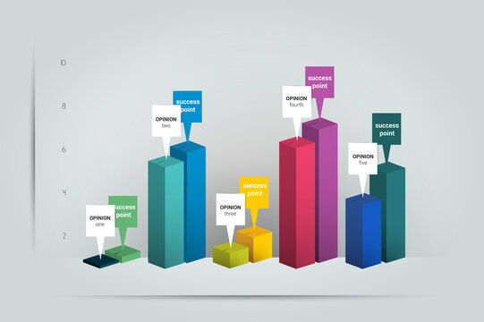 3D Chart, graph. Simply color editable. Infographics elements.