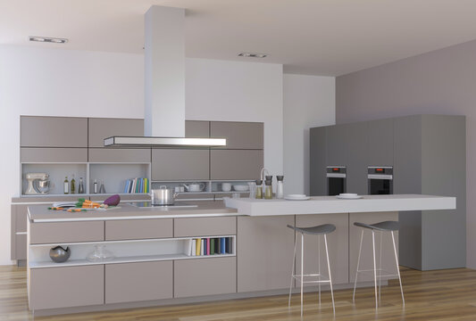 3d rendering of new contemporary kitchen interior