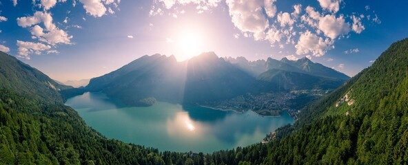 Aerial View Of Lake Molveno In Italy