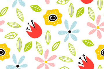 Fototapeta Garden flower, plants ,botanical ,seamless pattern vector design for fashion. Cute pattern in small flower. Small colorful flowers. Creative childish texture for fabric, wrapping.