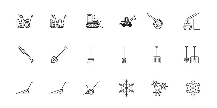 A set of simple vector icons on the theme of snow removal. There are such icons as a snow plow, a blower, a tractor, a loader, a scraper, a shovel, a broom, a brush, an avalanche