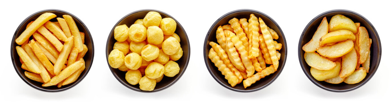 Bowls of french fries isolated on white, from above