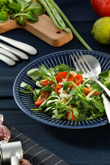 fresh salad on table and free space for your decoration