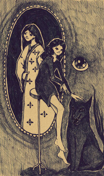 Hand drawn illustration from sketchbook with a girl and dog and also ghost in a mirror.