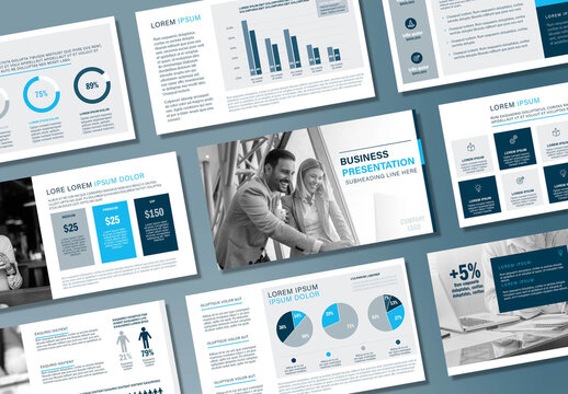 Monochrome Blue Business Presentation Layout